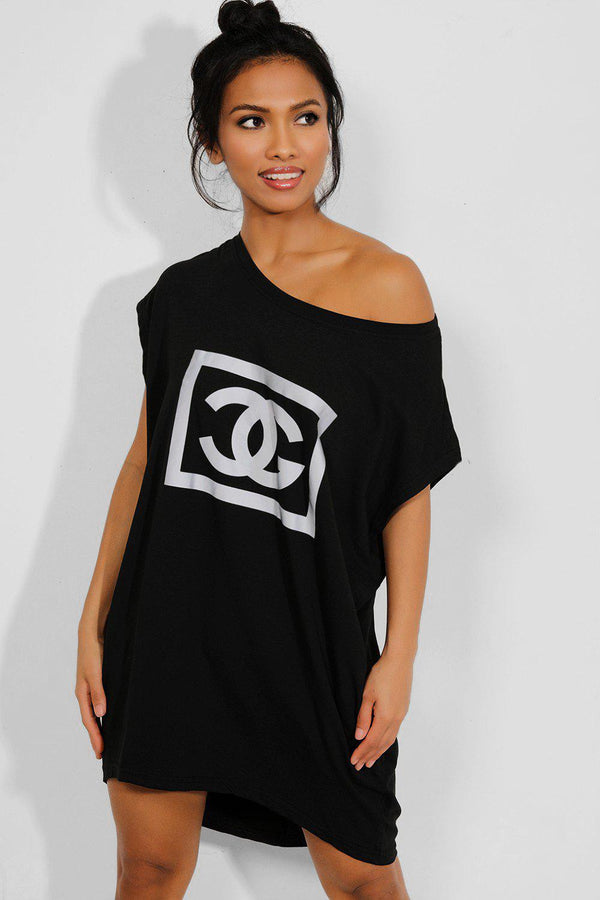Black Reflective Logo Pocketed T-shirt Dress - SinglePrice