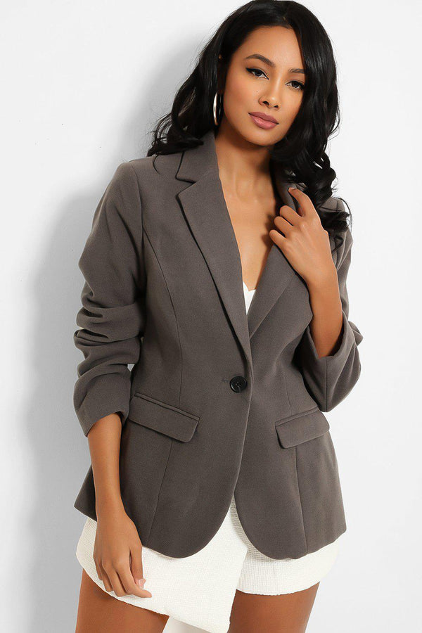 Grey Polar Fleece Single Button Blazer-SinglePrice