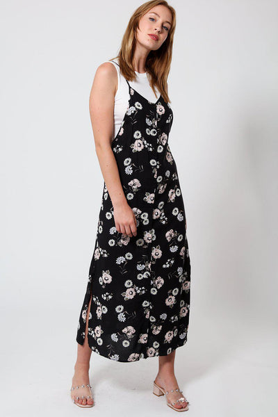 Black Floral Two-In-One Maxi Dress-SinglePrice