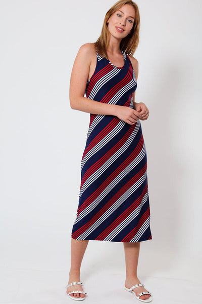 Navy Red Diagonal Stripes Print T-Shirt Midi Dress-SinglePrice