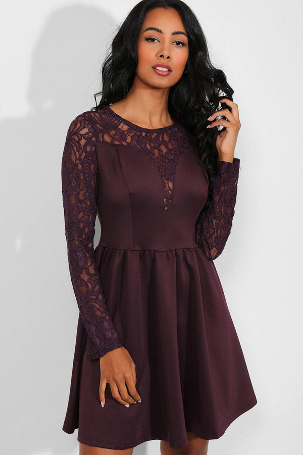 Purple Delicate Lace Sleeves Sweetheart Skater Dress - SinglePrice