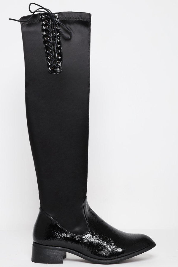 Laced Up Top Knee High Boots - SinglePrice