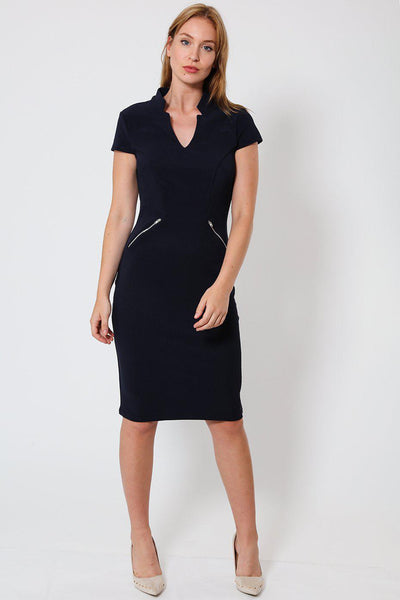 V-Neck Zip Details Navy Bodycon Dress-SinglePrice