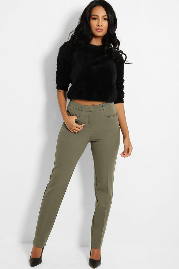 Khaki Peg Leg Smart Trousers