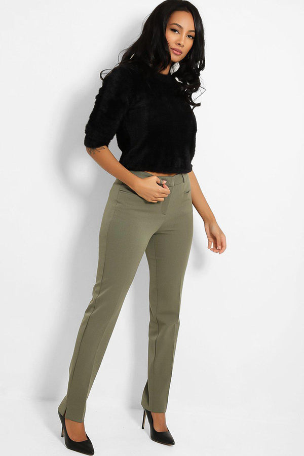 Khaki Peg Leg Smart Trousers-SinglePrice