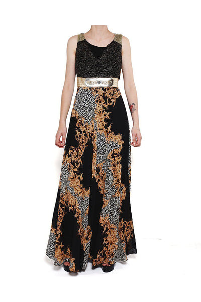 Black Leopard Baroque Print Maxi Dress-SinglePrice
