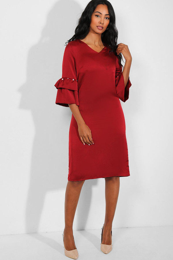 Wine Layered Pearls Embellished Sleeves Midi Shift Dress - SinglePrice