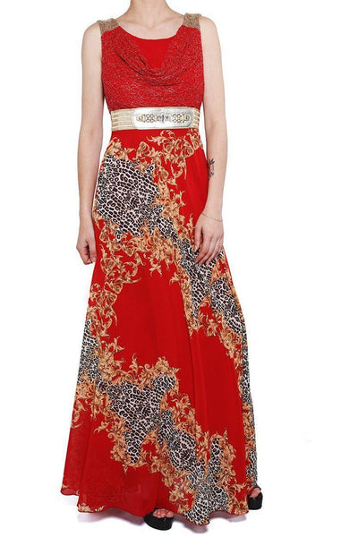 Red Leopard Baroque Print Maxi Dress-SinglePrice
