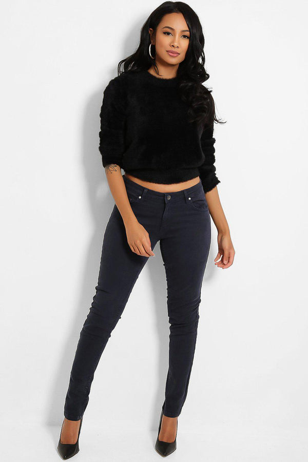 Washed Navy Low-Rise Jeans