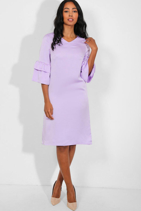 Lilac Layered Pearls Embellished Sleeves Midi Shift Dress - SinglePrice