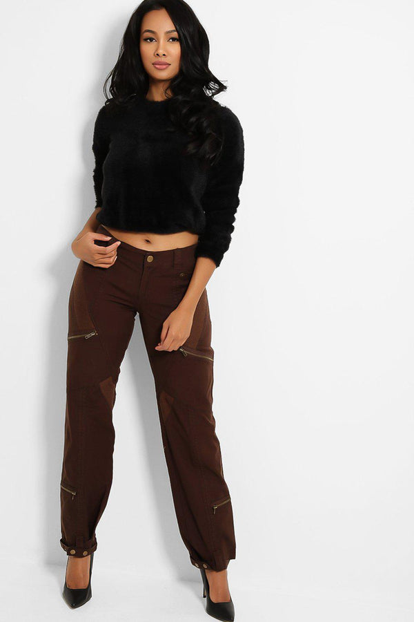 Brown Mid-Rise Utility Style Denim Trousers