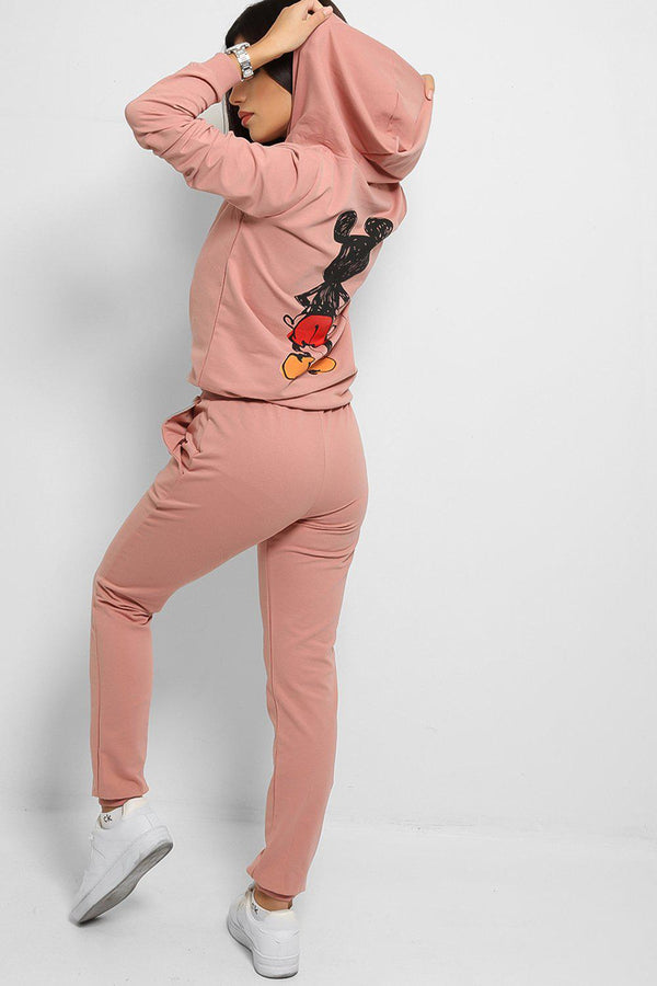 Pink Cartoon Print Cotton Blend Tracksuit - SinglePrice