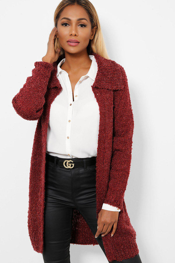 Burgundy Wide Collar Boucle Knit Cardigan-SinglePrice