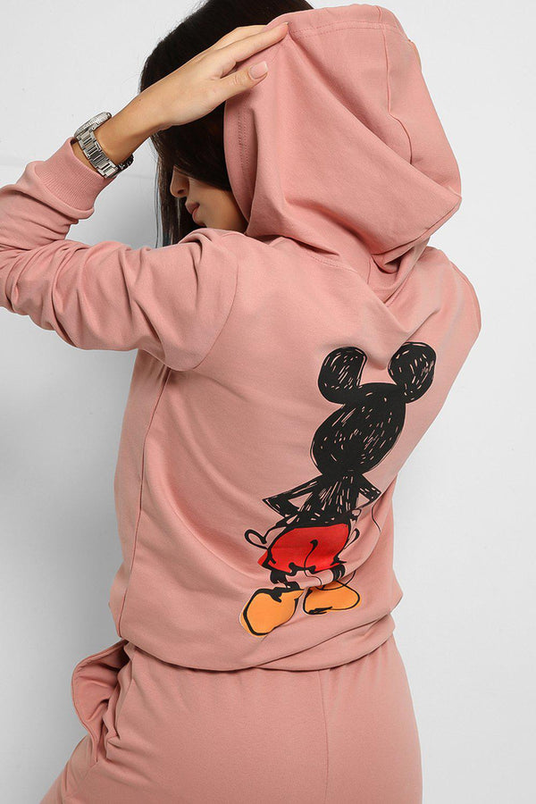 Pink Cartoon Character Print Cotton Blend Tracksuit - SinglePrice