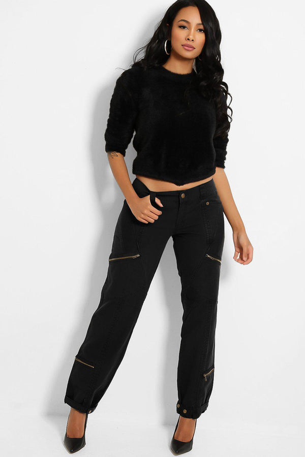 Black Mid-Rise Utility Style Denim Trousers