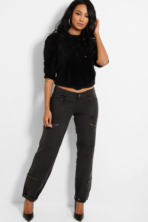 Charcoal Mid-Rise Utility Style Denim Trousers
