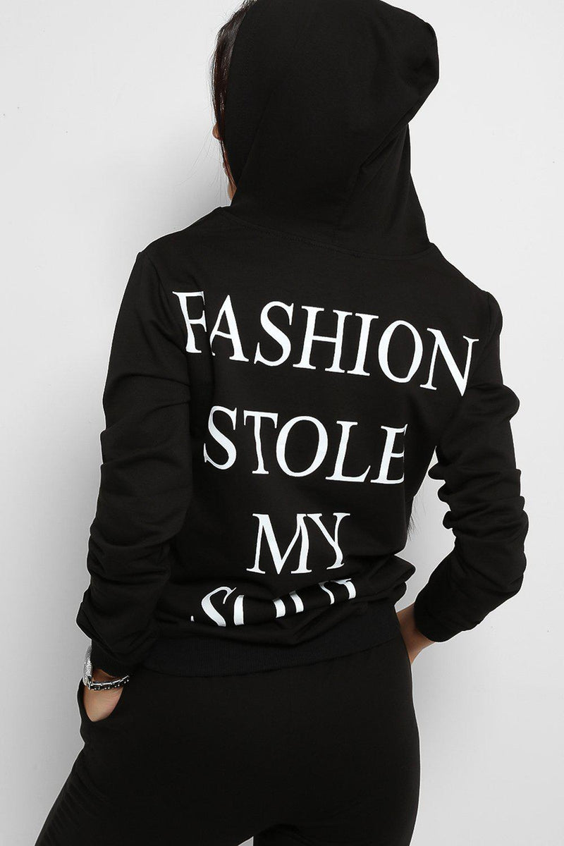 Black Fashion Stole My Soul Slogan Back Tracksuit - SinglePrice