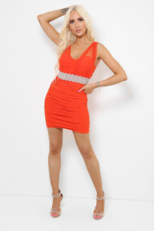 Embellished Waist Net Details Orange Mini Dress-SinglePrice