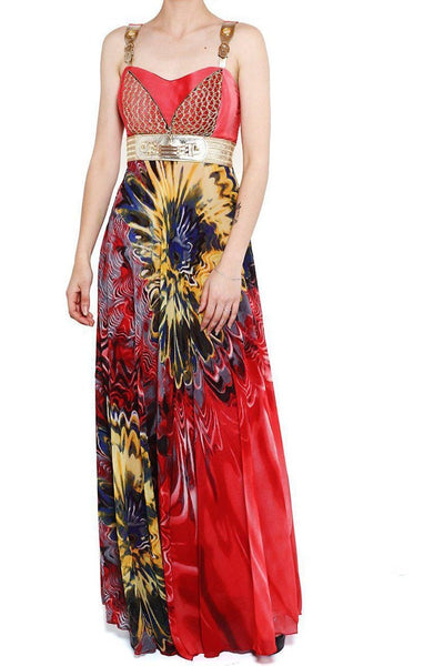 Red Gold Mesh Chiffon Maxi Dress-SinglePrice