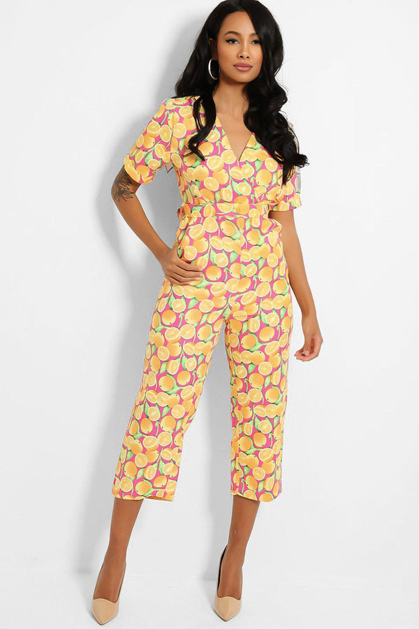 All Over Oranges Print Jumpsuit