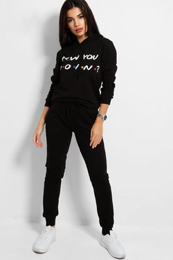 Black How You Doin' Slogan Tracksuit - SinglePrice