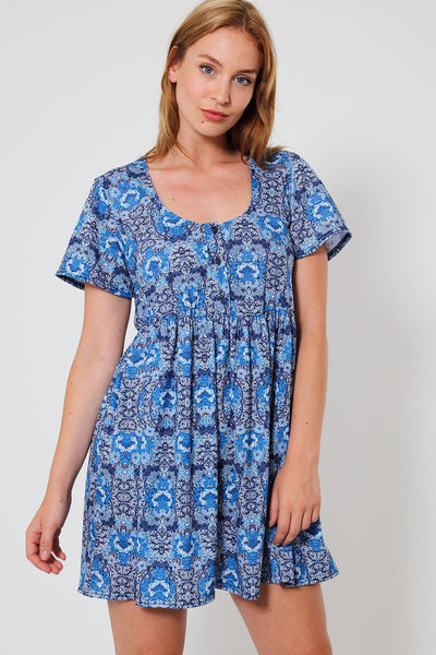 High Waisted Blue Mirror Print Babydoll Dress-SinglePrice