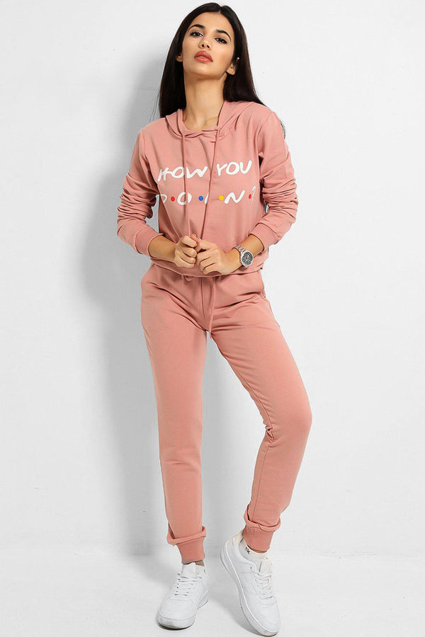 Pink How You Doin' Slogan Cotton Blend Tracksuit-SinglePrice