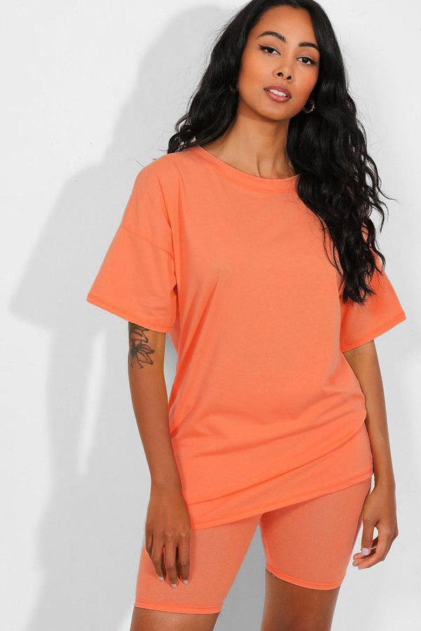 All Coral Basic T-Shirt And Cycling Shorts Set - SinglePrice