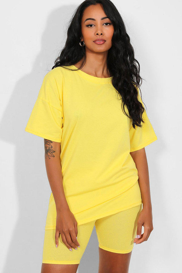 All Yellow Basic T-Shirt And Cycling Shorts Set - SinglePrice