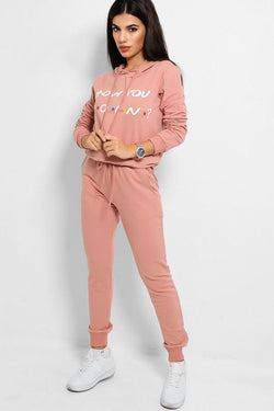 Pink How You Doin' Slogan Cotton Blend Tracksuit - SinglePrice