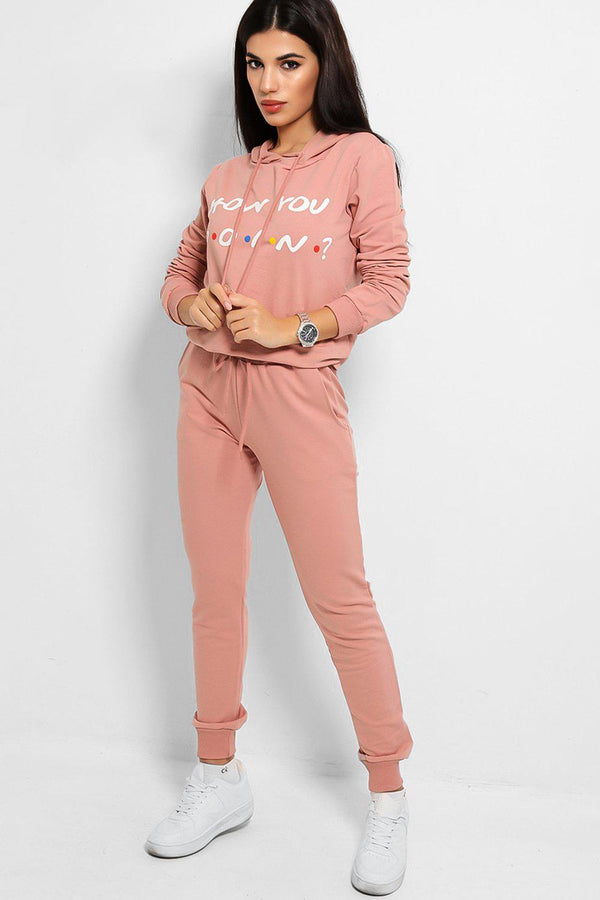 Pink How You Doin' Slogan Cotton Blend Tracksuit
