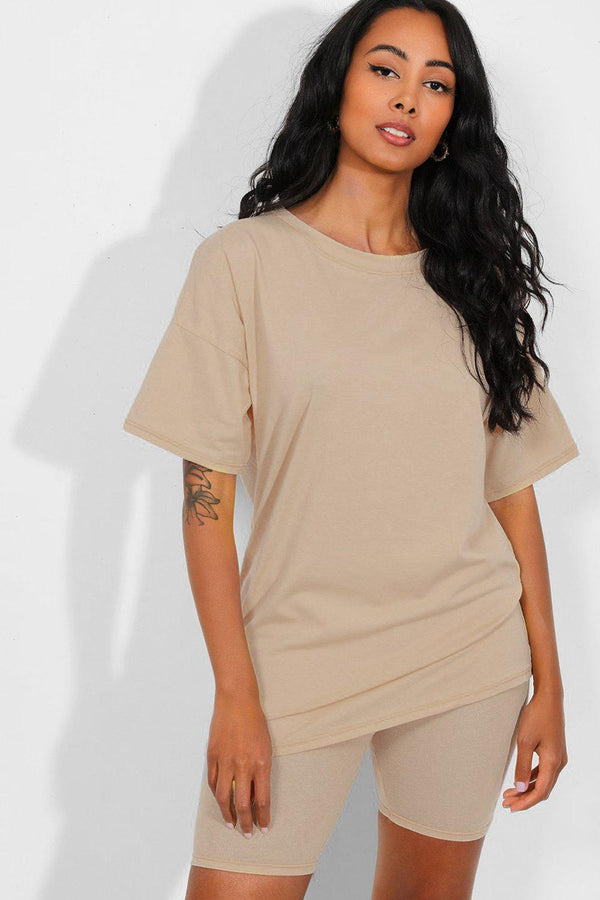 All Beige Basic T-Shirt And Cycling Shorts Set - SinglePrice