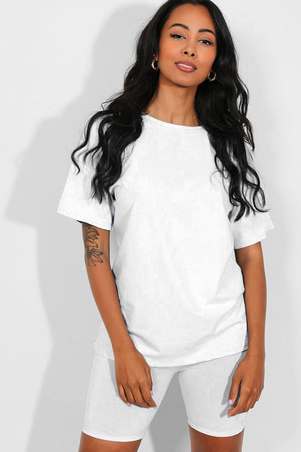 All White Basic T-Shirt And Cycling Shorts Set - SinglePrice