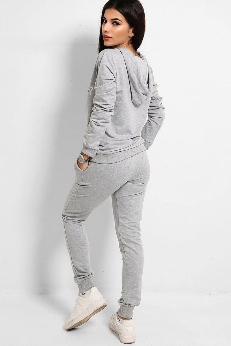 Grey How You Doin' Slogan Tracksuit - SinglePrice