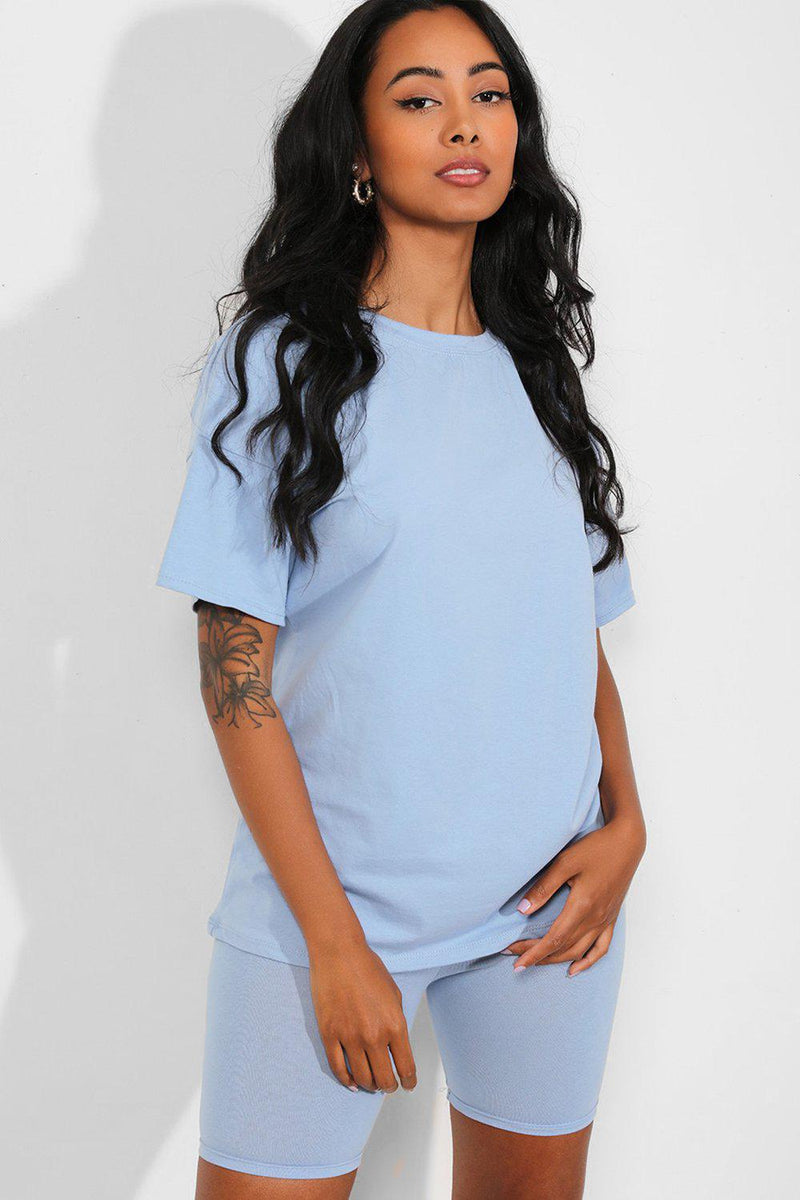 All Blue Basic T-Shirt And Cycling Shorts Set - SinglePrice