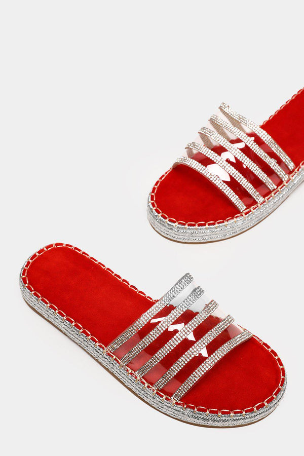 Encrusted Perspex Red Espadrille Sliders - SinglePrice