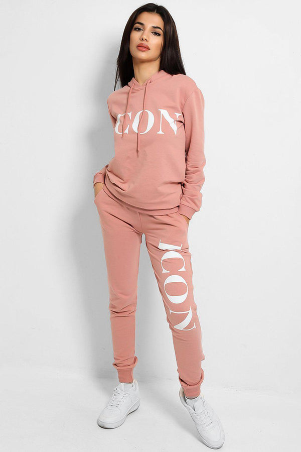 Pink Icon Slogan Hooded Tracksuit - SinglePrice