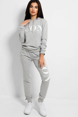 Grey Icon Slogan Tracksuit - SinglePrice