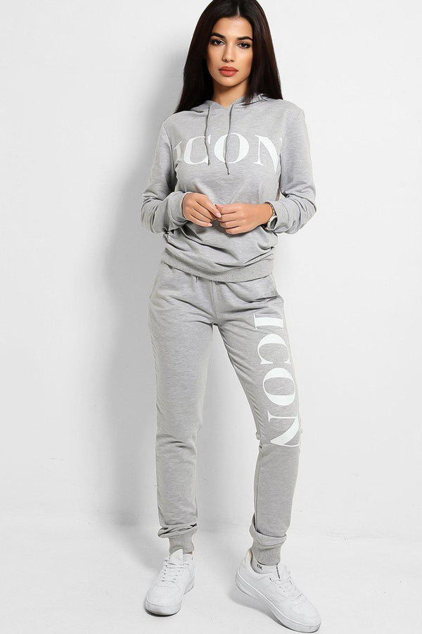 Grey Icon Slogan Hooded Tracksuit-SinglePrice