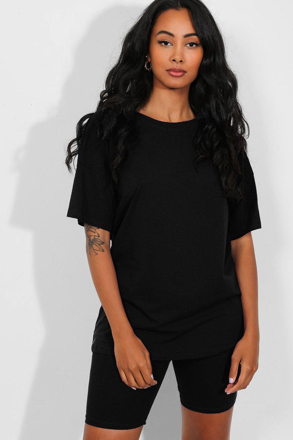 All Black Basic T-Shirt And Cycling Shorts Set - SinglePrice