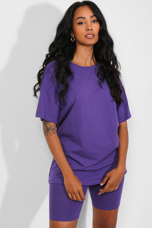 All Purple Basic T-Shirt And Cycling Shorts Set - SinglePrice