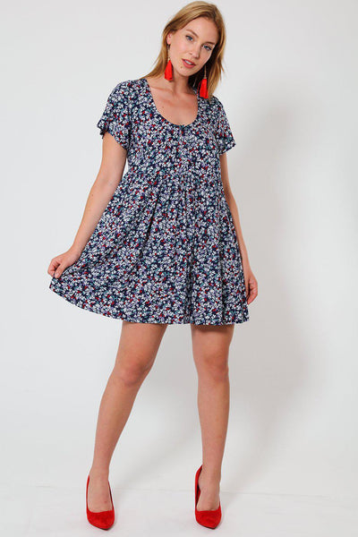 High Waisted Navy & Red Floral Print Babydoll Dress-SinglePrice