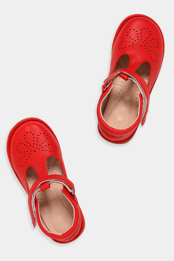 Red Perforated Flower T-Bar Baby Girl Shoes - SinglePrice