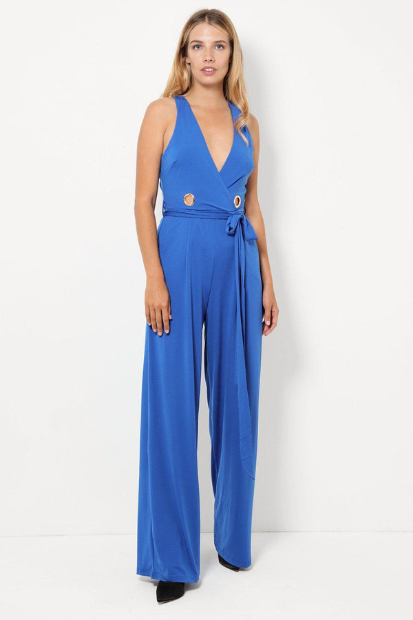 Blue Ring Detail Wide Leg Slinky Jumpsuit-SinglePrice