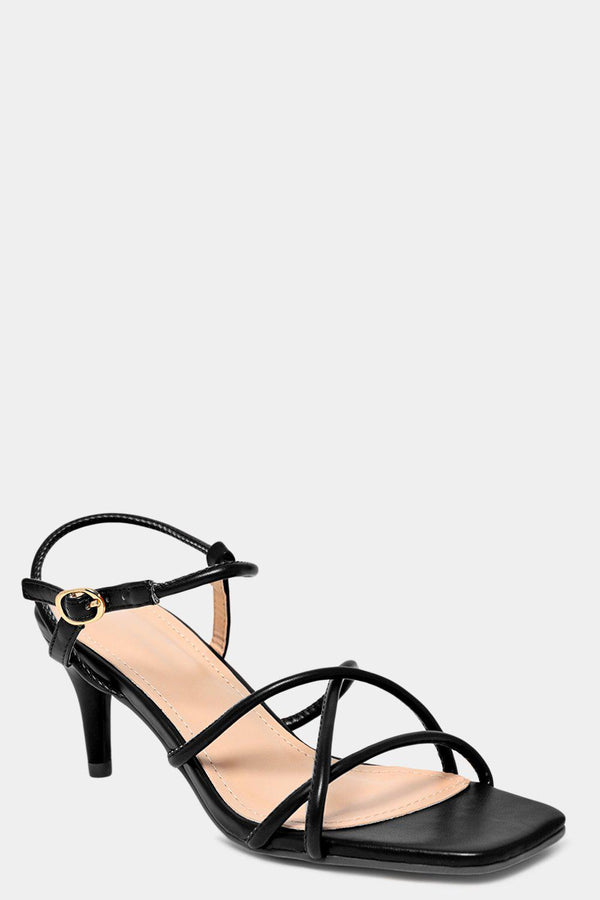 Black Vegan Leather Crossover Straps Kitten Heels - SinglePrice