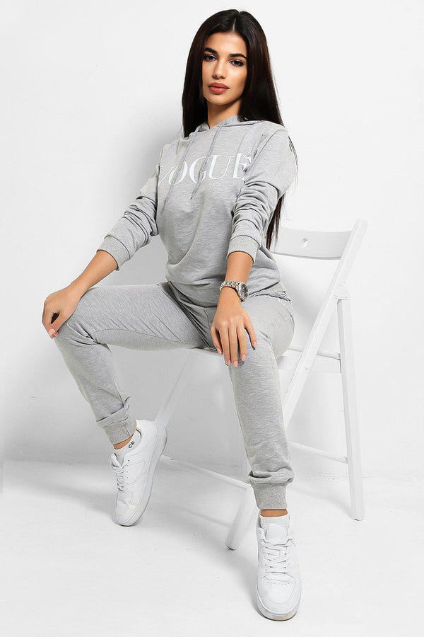 Grey White Slogan Cotton Blend Hooded Tracksuit - SinglePrice