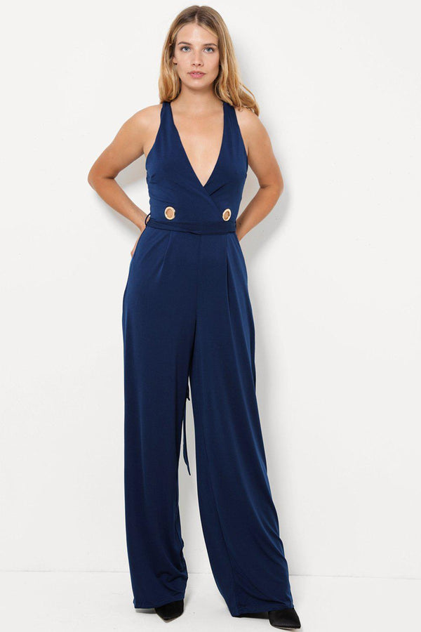 Navy Ring Detail Wide Leg Slinky Jumpsuit-SinglePrice