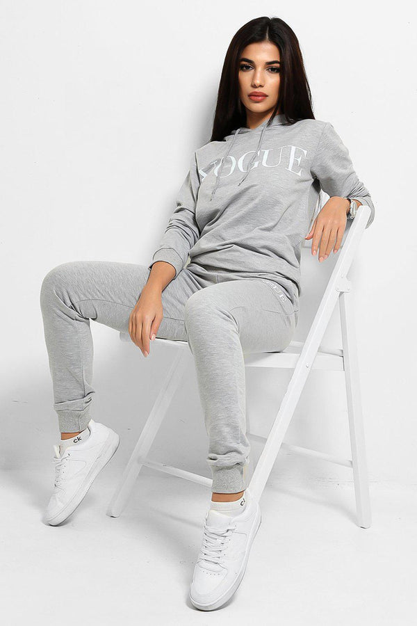 Grey Slogan Details Cotton Blend Hooded Tracksuit - SinglePrice