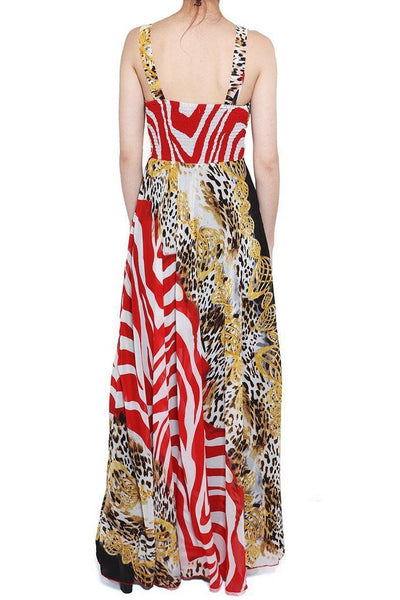 Red Leopard Print Maxi Dress-SinglePrice