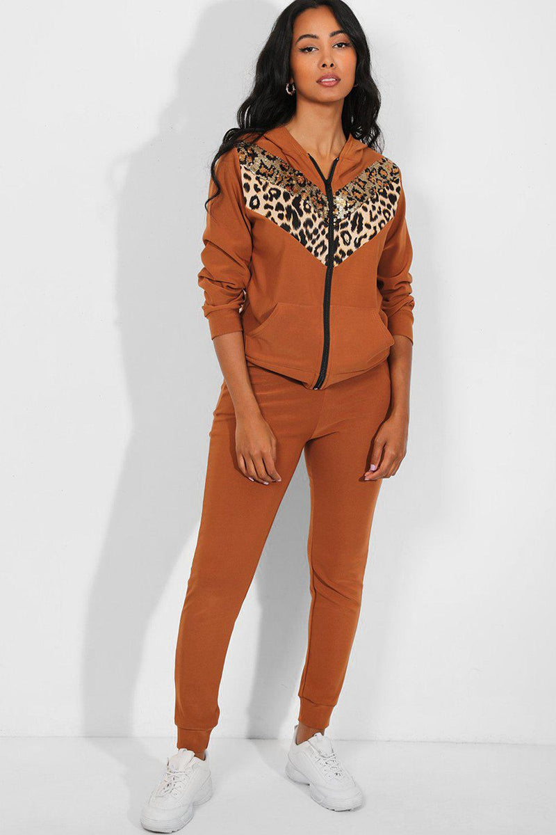 Sequinned Leopard Print Panel Camel 2 Piece Tracksuit - SinglePrice
